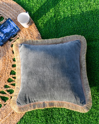 GREY DECORATIVE VELVET CUSHION COVER with LACE
