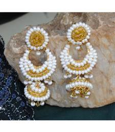 Yellow Crystal Pearl Jhumka Earrings