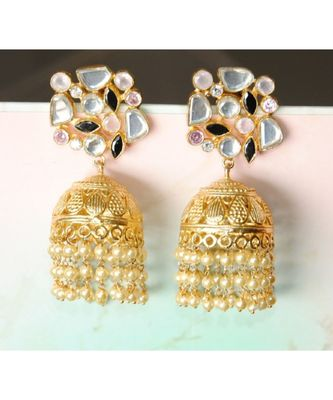 Gold Jhumka Earrings studded with Uncut Diamonds and Dangling Pearl Strings