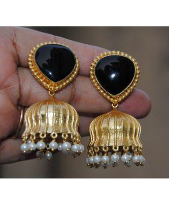 Black Melanite Garnet Heart 18K Gold Plated Jhumka Earrings