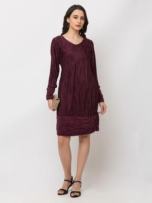 Sheczzar  Maroon  Color  Regular fit  Midi  Dress