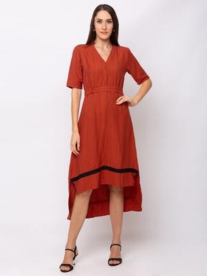 Sheczzar Orange Color Regular fit Midi Dress