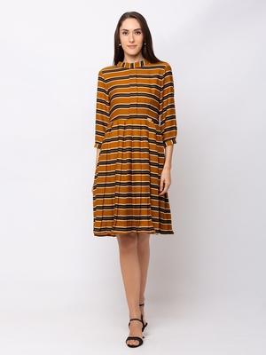 Sheczzar Mustard Color Regular fit Midi Dress