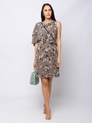 Sheczzar Grey Color Regular fit Midi Dress