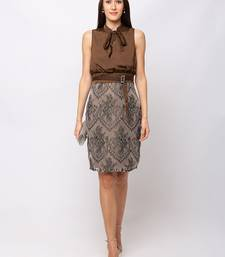 Sheczzar BROWN Color Regular fit Midi Dress