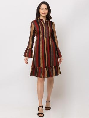 Sheczzar Rust Color Regular fit Midi Dress