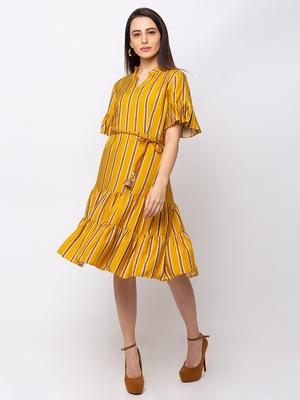 Sheczzar Yellow Color Regular fit Midi Dress