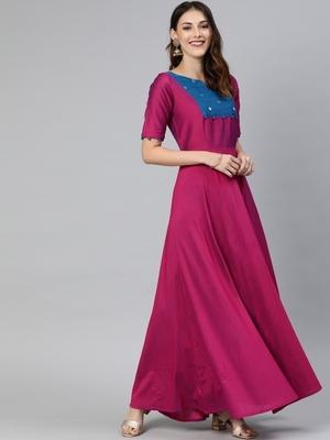 Purple printed cotton long-dresses