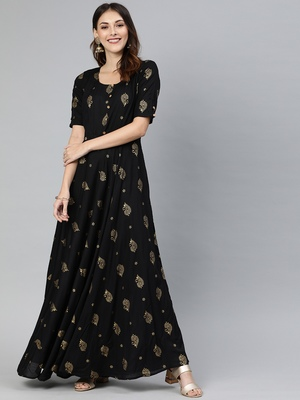 Black printed viscose rayon long-dresses