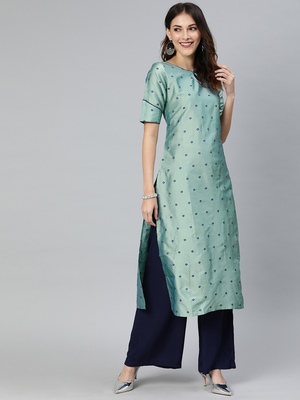 Multicolor printed art silk silk-kurtis
