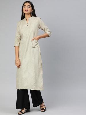 Beige printed cotton cotton-kurtis