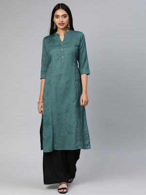 Teal printed cotton cotton-kurtis