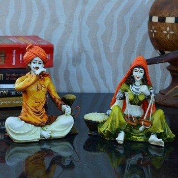 Combo of Rajasthani Hookah Man and Lady Statue