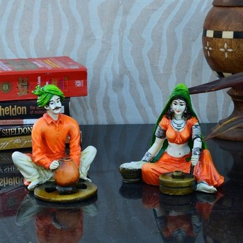Combo of Rajasthani Craftman and Lady Statue