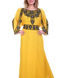 Yellow Zari Stone Work Georgette Islamic Style Beads Embedded Partywear Kaftan Long Gown Evening wear Dubai kaftan
