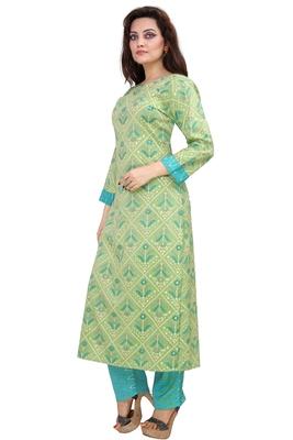 Pureint Women's Rayon Printed Kurta set with pant