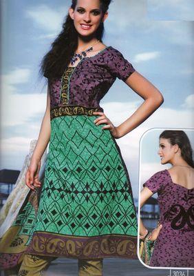 Elegant Cotton Dress Material With Chiffon Dupatta Unstitched Salwar Suit D.No 3036