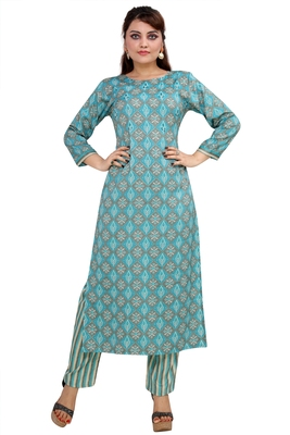 Pureint Women's Rayon Printed Kurta set with pant