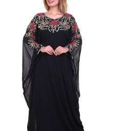 Black Zari Stone Work Georgette Islamic Style Beads Embedded Partywear Kaftan Long Gown Evening wear Dubai kaftan