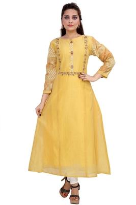 Pureint Women's Chanderi Fabric designer Anarkali Kurti