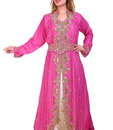 Rani & White Zari Stone Work Georgette Islamic Style Beads Embedded Partywear Kaftan Long Gown Evening wear Dubai kaftan