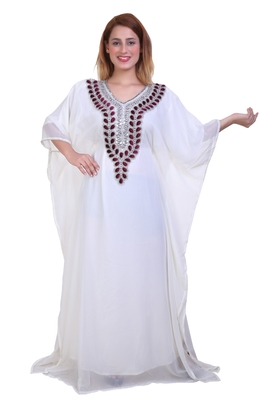 White Zari Stone Work Georgette Islamic Style Beads Embedded Partywear Kaftan Long Gown Evening wear Dubai kaftan