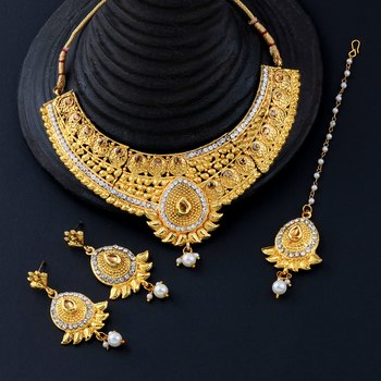 Gold Plated Traditional Choker Set Jewellery Set For Women Girls