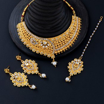 Gold Plated Traditional Choker Set Jewellery Set For Women Girls