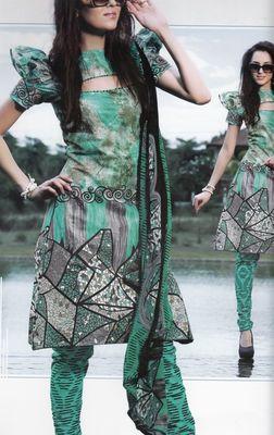 Elegant Cotton Dress Material With Chiffon Dupatta Unstitched Salwar Suit D.No 3041