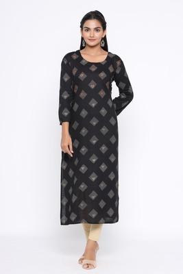 Ardozaa Women's Rayon Printed Straight Kurta (Black)