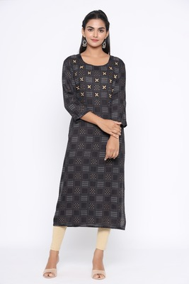 Ardozaa Women's Rayon Printed Straight Kurta (Black)