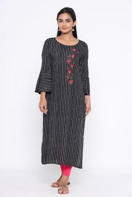 Ardozaa Women's Rayon Stripe Print Straight Kurta (Black)