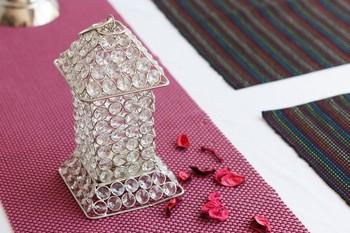 Glittering Long House Shape Crystal Tea Light Holder