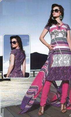 Elegant Cotton Dress Material With Chiffon Dupatta Unstitched Salwar Suit D.No 3043