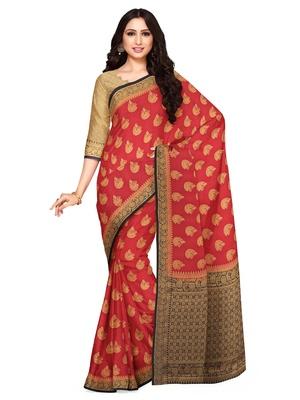 Mimosa Mysore Silk Style Crepe Saree Color :  Red