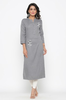 Ardozaa Women's Rayon Stripe Print Straight Kurta (Grey)