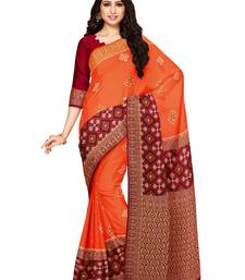 Mimosa Ikat Style Art Silk Saree Color :  Orange