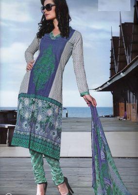 Elegant Cotton Dress Material With Chiffon Dupatta Unstitched Salwar Suit D.No 3044