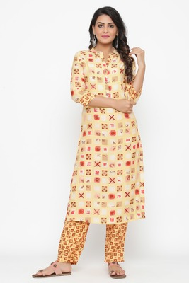 Ardozaa Women's Rayon Printed Straight Kurta (Yellow)