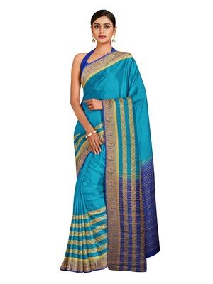 Mimosa Mysore Silk Style Crepe Saree Color :  Blue