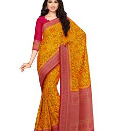 Mimosa Ikat Style Art Silk Saree Color :  Mustard Yellow
