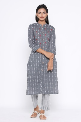 Ardozaa Women's Cotton Printed Straight Kurta Pant Set (Grey)