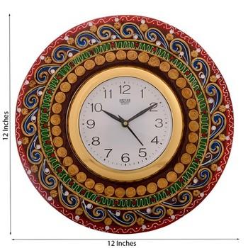 Artistic Handwork Papier-Mache Wooden Wall Clock