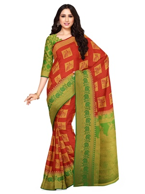 Mimosa Kanjivaram Style Art Silk Saree Color :  Red
