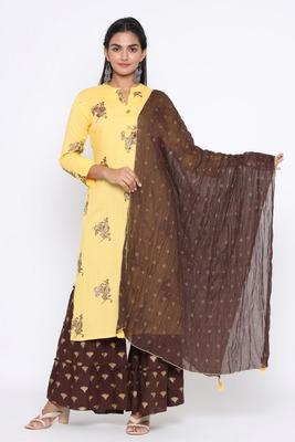 Ardozaa Women's Rayon Printed Straight Kurta Sharara Dupatta Set (Yellow)