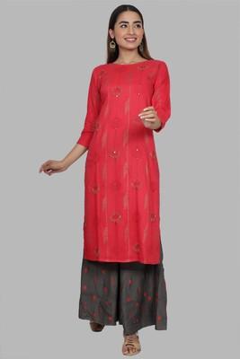 Ardozaa Women's Rayon Printed Straight Kurti Sharara Set (Grey)