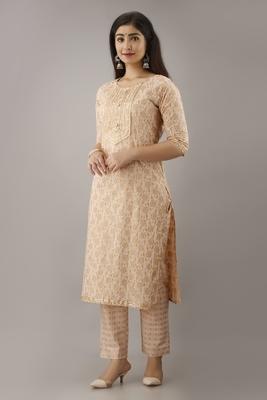 Ardozaa Women's Cotton Printed Straight Kurta Pant Set (Cream)