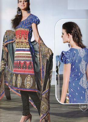 Elegant Cotton Dress Material With Chiffon Dupatta Unstitched Salwar Suit D.No 3048