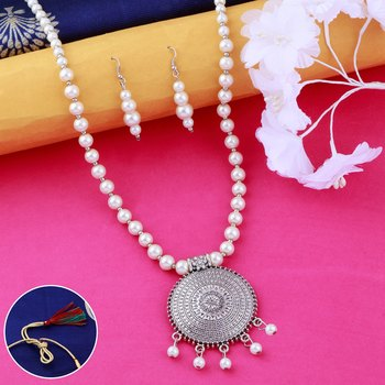Silver plated Royal Designer Traditional Long Pearl Necklace set for women Jewellery set