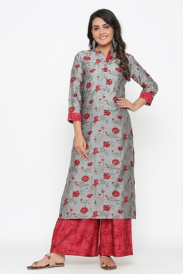 Ardozaa Women's Muslin Printed Straight Kurta Palazzo Set (Grey)